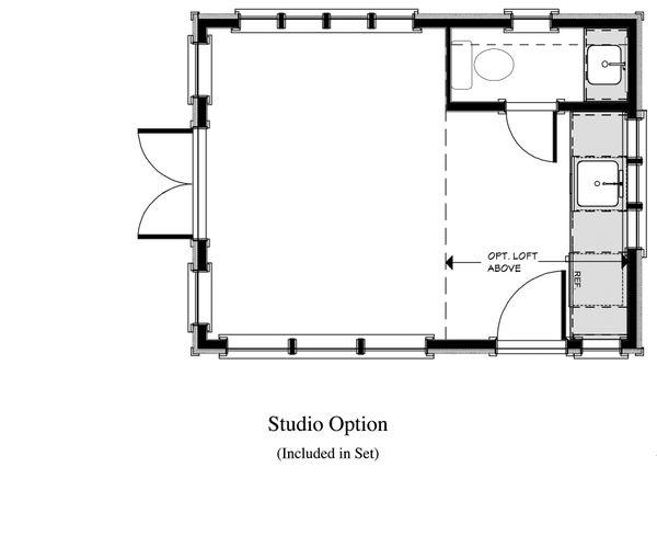 Cottage Style House Plan - 1 Beds 1 Baths 192 Sq/Ft Plan #917-11 Floor Plan - Main Floor Plan