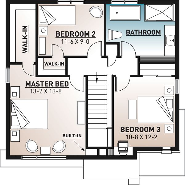 Modern Floor Plan - Upper Floor Plan Plan #23-2702
