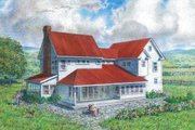 Farmhouse Style House Plan - 4 Beds 3 Baths 3291 Sq/Ft Plan #485-4 Exterior - Rear Elevation