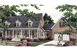 Southern Exterior - Front Elevation Plan #406-299