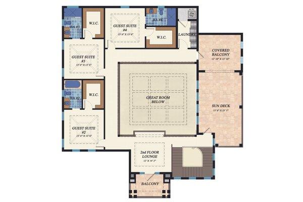 Mediterranean Floor Plan - Upper Floor Plan Plan #548-22