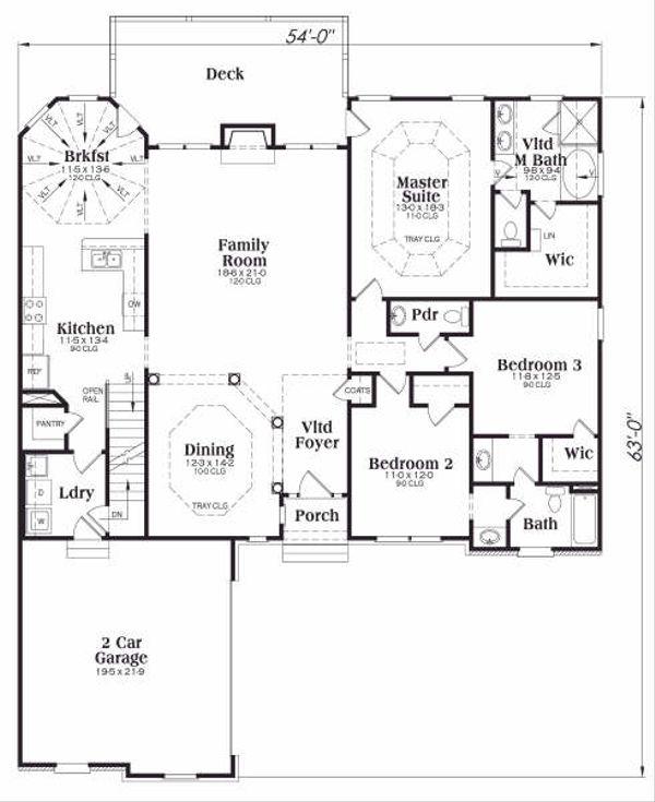 Traditional Floor Plan - Main Floor Plan Plan #419-164