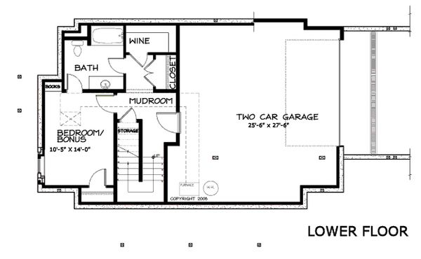 Craftsman Floor Plan - Lower Floor Plan Plan #434-5