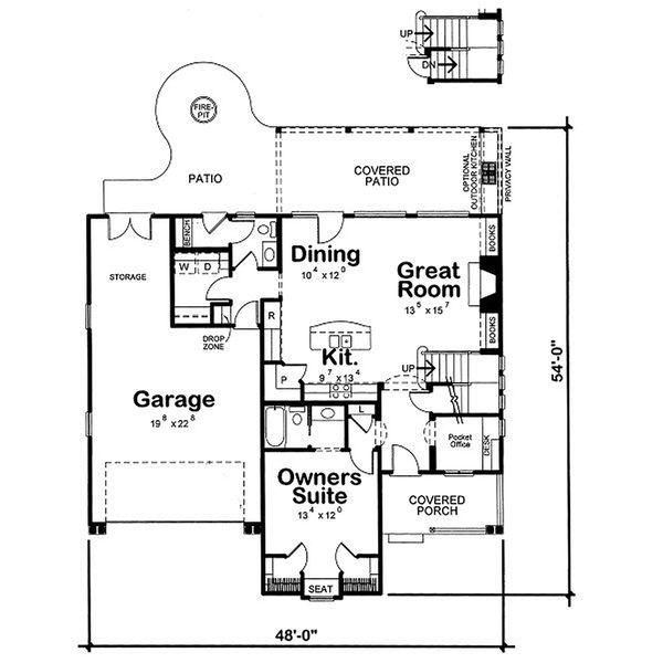 Country house plan design, main level floor plan