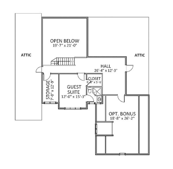 Traditional Floor Plan - Upper Floor Plan Plan #898-19