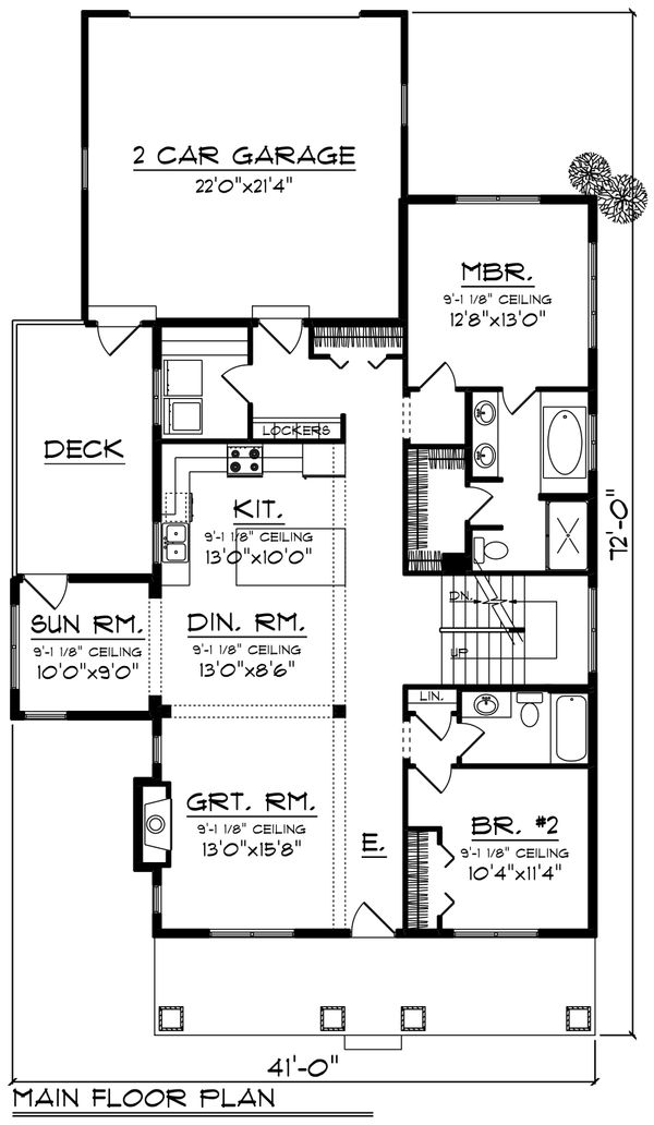 Farmhouse Floor Plan - Main Floor Plan Plan #70-1419