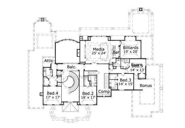 European Floor Plan - Upper Floor Plan #411-408
