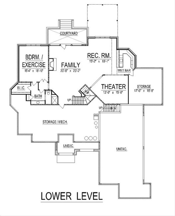 European Floor Plan - Lower Floor Plan Plan #458-20