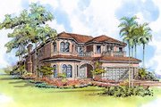 Mediterranean Style House Plan - 5 Beds 4.5 Baths 4224 Sq/Ft Plan #420-301 Exterior - Other Elevation