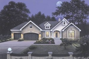 Architectural House Design - Traditional Exterior - Front Elevation Plan #57-129