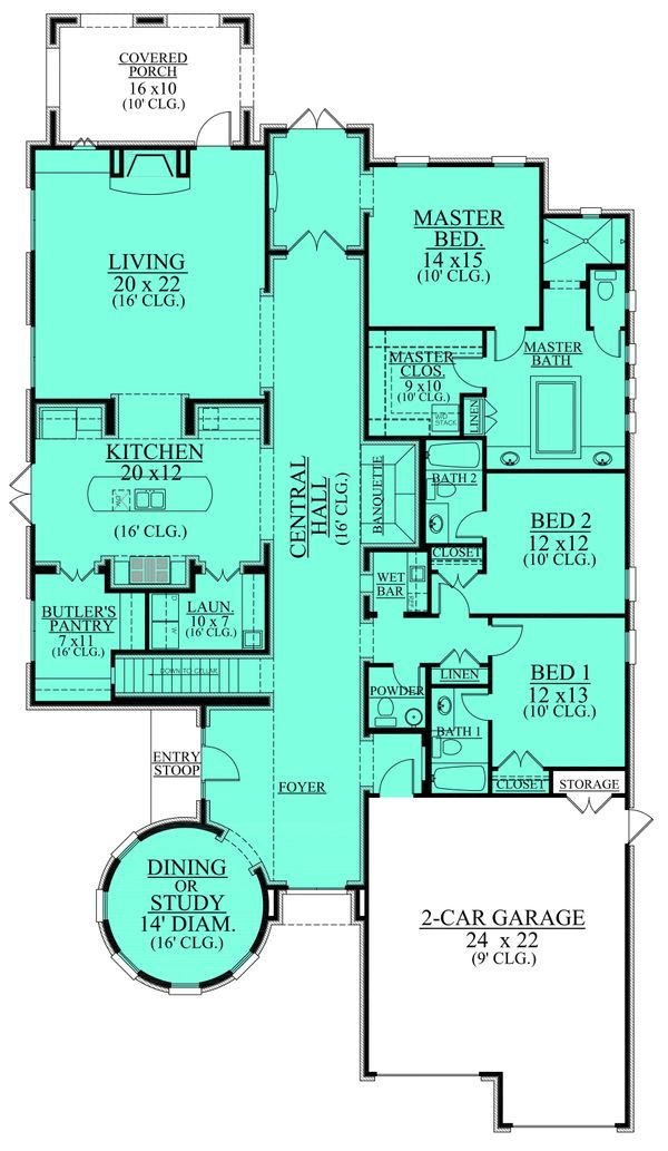 European Floor Plan - Main Floor Plan Plan #430-111