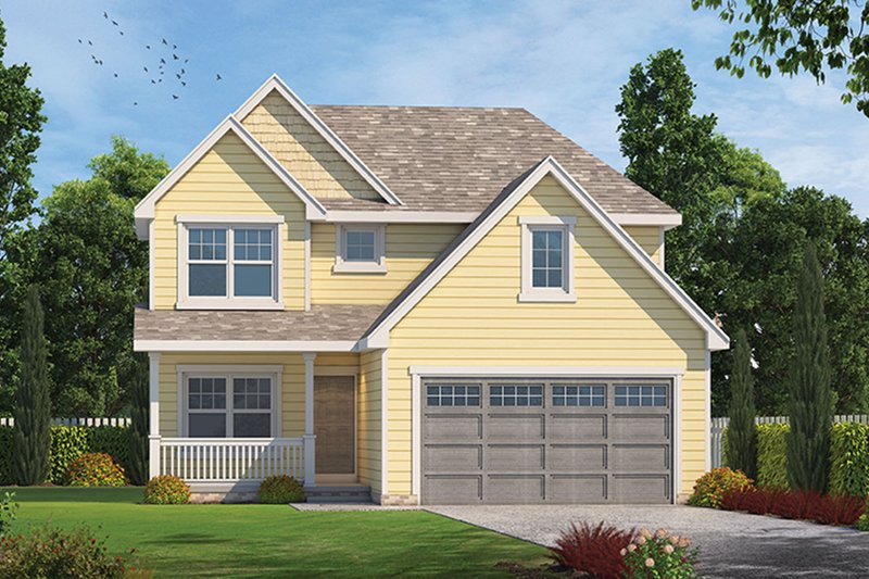 Country Style House Plan - 3 Beds 2.5 Baths 1460 Sq/Ft Plan #20-2258 Exterior - Front Elevation