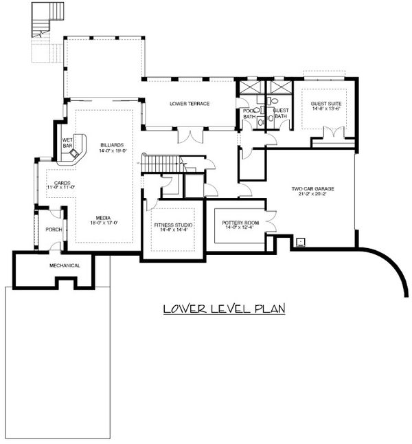 European Floor Plan - Lower Floor Plan Plan #413-890