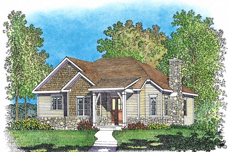 Architectural House Design - Cottage Exterior - Front Elevation Plan #22-573