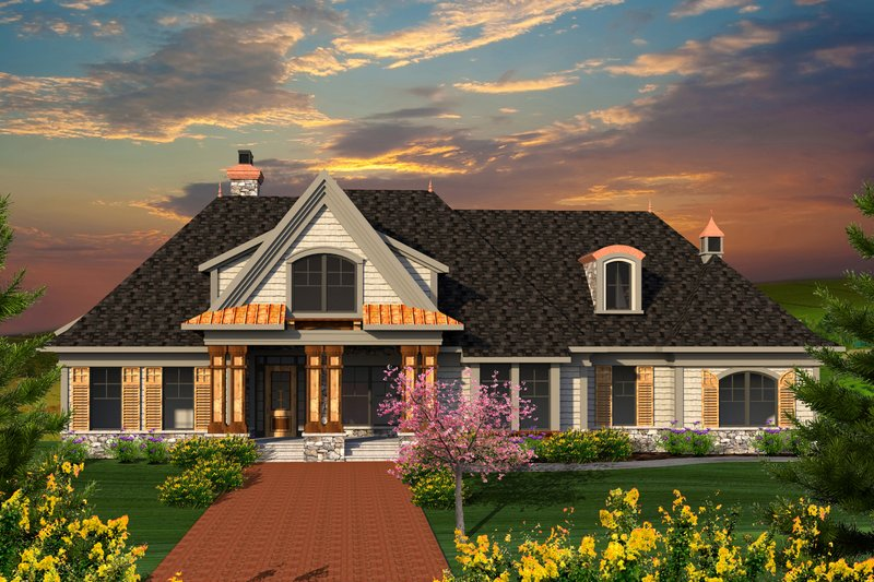 Cottage Exterior - Front Elevation Plan #70-1180