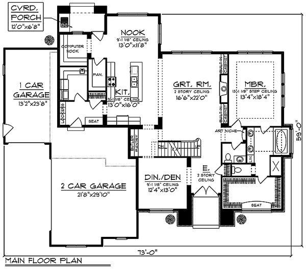 Traditional Floor Plan - Main Floor Plan Plan #70-994