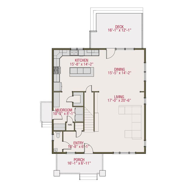 Craftsman Floor Plan - Main Floor Plan Plan #461-51