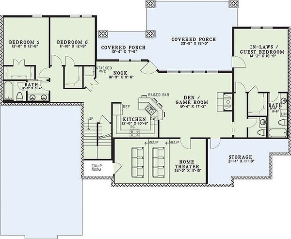 Craftsman Floor Plan - Lower Floor Plan Plan #17-2376