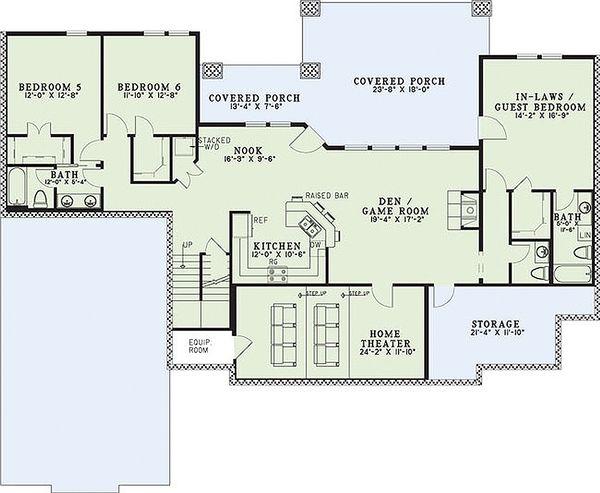 Craftsman Floor Plan - Lower Floor Plan #17-2376