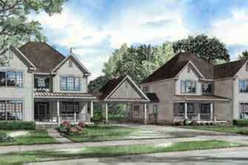 Traditional Style House Plan - 4 Beds 3.5 Baths 6044 Sq/Ft Plan #17-2261 Exterior - Front Elevation