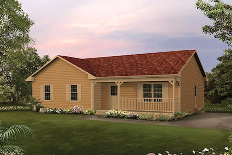 Cottage Style House Plan - 3 Beds 1 Baths 1197 Sq/Ft Plan #57-223 Exterior - Front Elevation