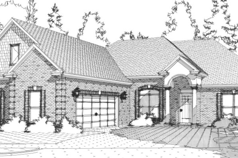European Style House Plan - 4 Beds 4 Baths 2285 Sq/Ft Plan #63-277 Exterior - Front Elevation