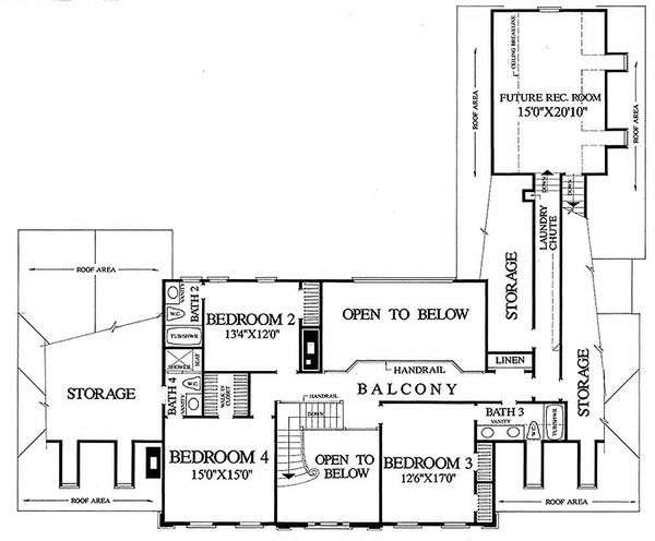 Colonial Floor Plan - Upper Floor Plan Plan #137-112