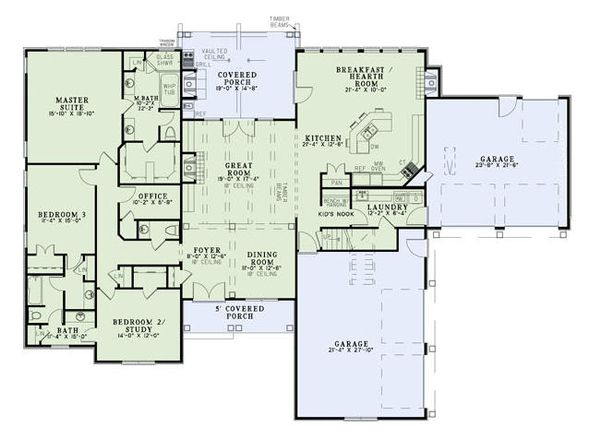 Texas european ranch house plan with 4 garage bays or a large workshop.