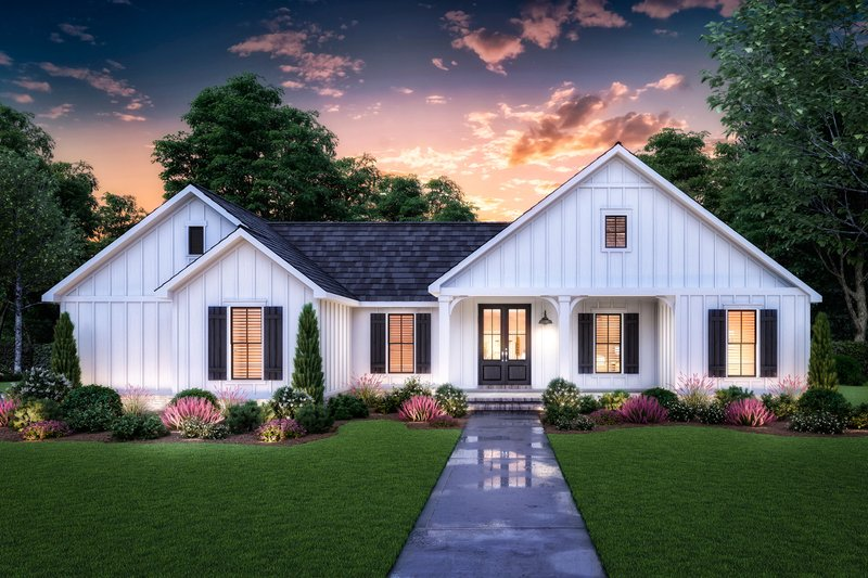 Farmhouse Style House Plan - 3 Beds 2 Baths 1474 Sq/Ft Plan #1074-26 Exterior - Front Elevation