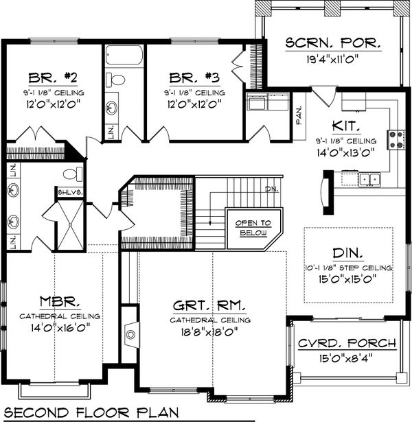 Bungalow Floor Plan - Upper Floor Plan Plan #70-1058