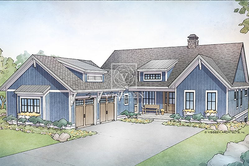 Farmhouse Style House Plan - 4 Beds 4 Baths 3409 Sq/Ft Plan #928-328 Exterior - Front Elevation
