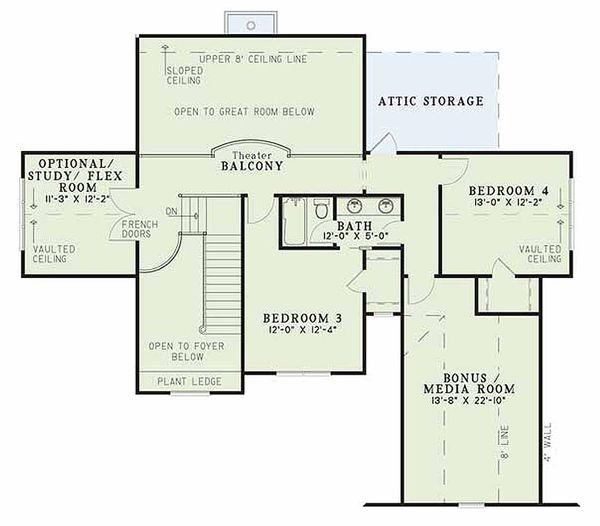 Craftsman Floor Plan - Upper Floor Plan Plan #17-2133