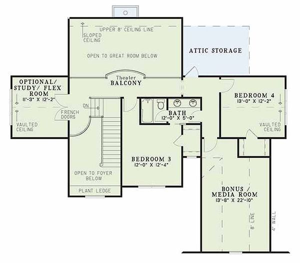 Craftsman Floor Plan - Upper Floor Plan Plan #17-2133