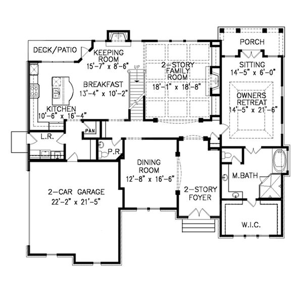 Traditional Floor Plan - Main Floor Plan Plan #54-409