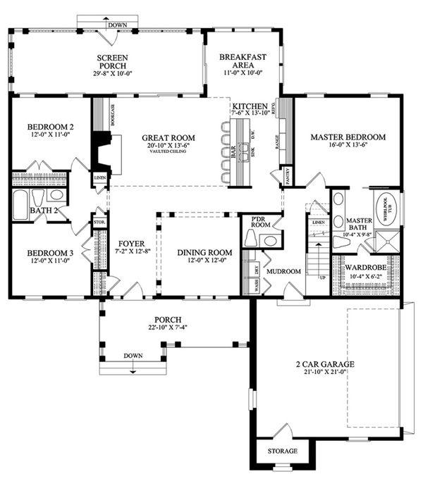 Southern Floor Plan - Main Floor Plan Plan #137-256