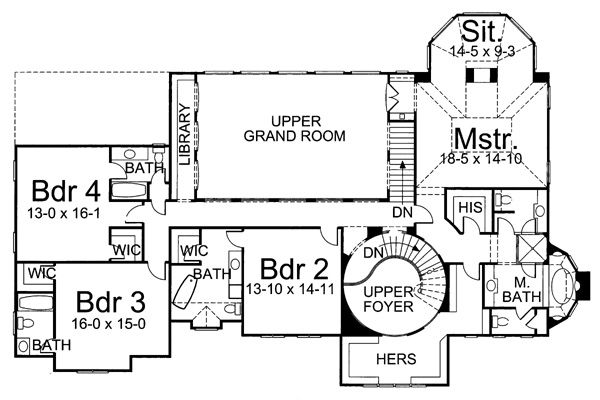 European Floor Plan - Upper Floor Plan Plan #119-254