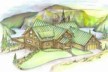 Home Plan - Log Exterior - Front Elevation Plan #117-104