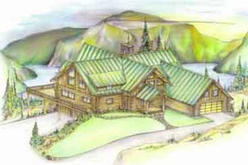 Log Exterior - Front Elevation Plan #117-104