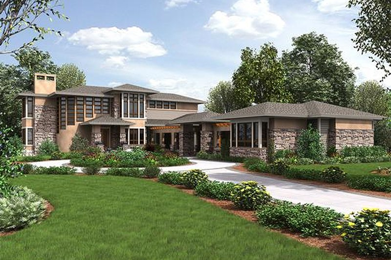 Dream House Plan - Prairie Exterior - Front Elevation Plan #132-566
