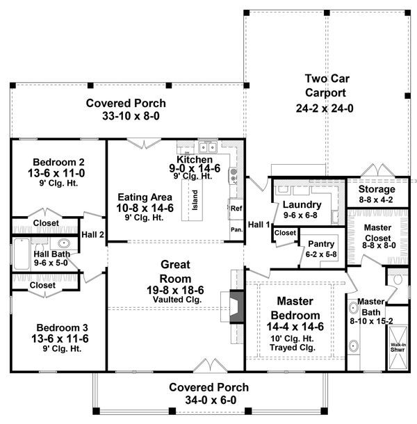 Farmhouse Floor Plan - Main Floor Plan Plan #21-451