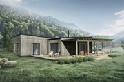 Cabin Style House Plan - 2 Beds 2 Baths 1230 Sq/Ft Plan #924-2 Exterior - Rear Elevation
