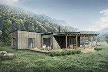 Cabin Exterior - Rear Elevation Plan #924-2