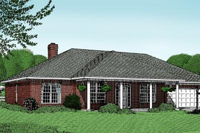 Ranch Style House Plan - 3 Beds 2 Baths 1969 Sq/Ft Plan #11-106 Exterior - Front Elevation