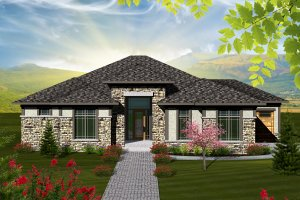 Ranch Exterior - Front Elevation Plan #70-1117