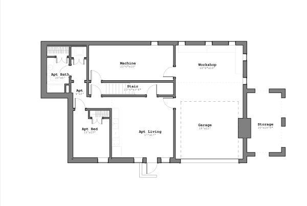 Contemporary Floor Plan - Lower Floor Plan Plan #926-4