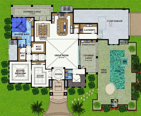 Mediterranean Floor Plan - Main Floor Plan Plan #548-22