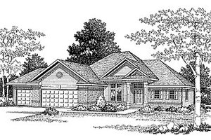 Ranch Exterior - Front Elevation Plan #70-173