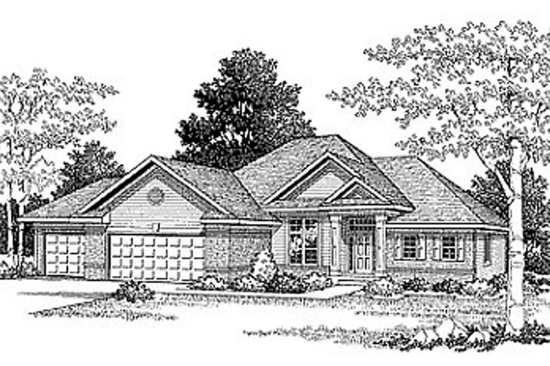 Ranch Style House Plan - 2 Beds 2 Baths 1692 Sq/Ft Plan #70-173 Exterior - Front Elevation