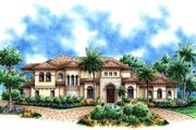 Mediterranean Style House Plan - 4 Beds 5.5 Baths 4798 Sq/Ft Plan #27-386 Exterior - Front Elevation
