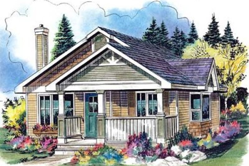 Cottage Style House Plan - 1 Beds 1 Baths 607 Sq/Ft Plan #18-4462 Exterior - Front Elevation